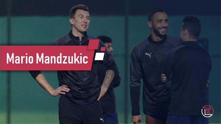 Mario Mandzukic, à l'entrainement du Duhail avec Benatia et Msakni